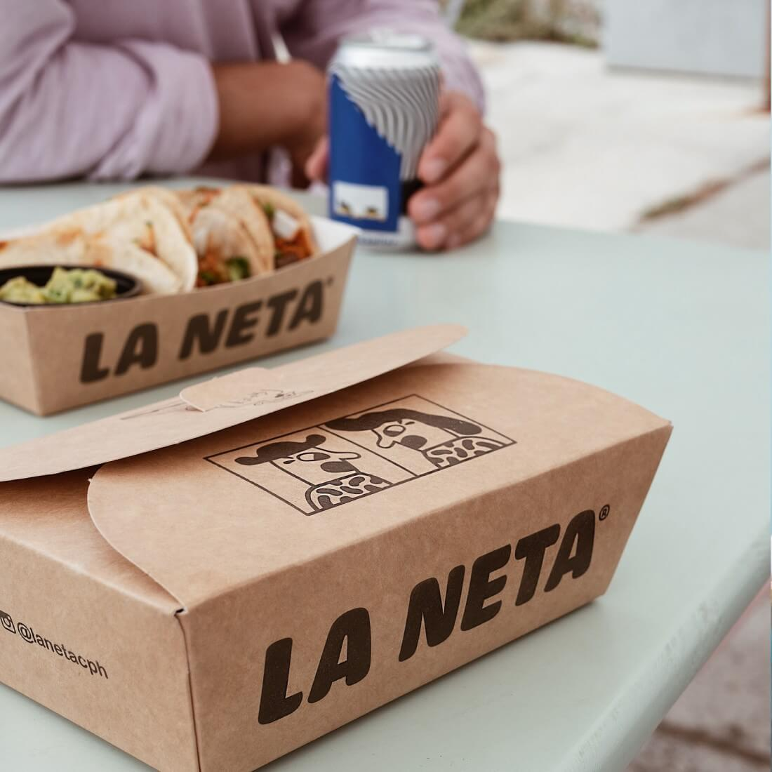 Paper boxes for the Mexican restaurant La Neta- belonging to the global brand Mikkeller, draw attention with their characteristic prints.