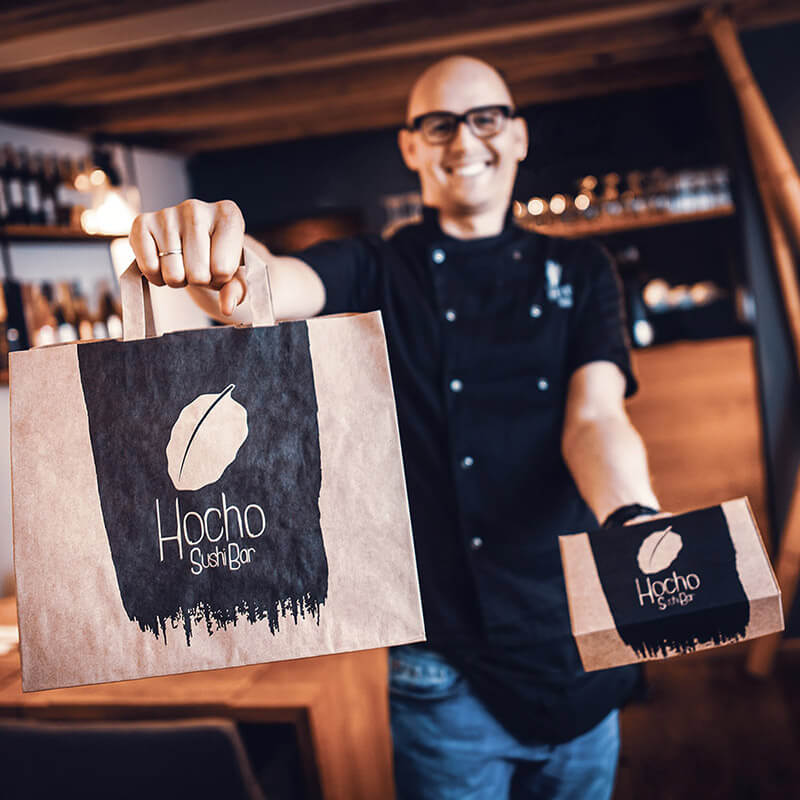 Kraft paper packaging produced for the Hocho Sushi restaurant