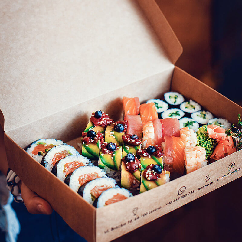The sushi boxes for the Hocho Sushi restaurant were entirely made of paper